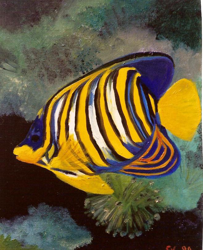 Un petit poisson deux petits poissons s aimaient en couleurs vives fran en peinture - Poisson dessin couleur ...